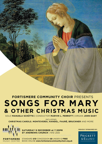 Christmas 2017 - Songs for Mary and other Christmas music Programme:  Ave Maria - JOSQUIN Vom Himmel hoch da komm ich her - BACH O thou that tellest good tidings to Zion - HANDEL Once in royal David's city (audience carol) Ave maris stella - MONTEVERDI O little town of Bethlehem (audience carol) Salve Regina - POULENC Ding dong merrily on high (audience carol) Gloria in excelsis Deo - BACH For unto us a child is born - HANDEL  INTERVAL   Lauda Jerusalem - MONTEVERDI O come all ye faithful (audience carol) Ave Maria - STRAVINSKY Os justi - BRUCKNER Christus factus est - BRUCKNER Locus iste - BRUCKNER Coventry carol (audience carol) Cantique de Jean Racine - FAURÉ And the glory of the Lord - HANDEL Hark the herald angels sing (audience carol) Soloist: Manuela Schütte – alto  Musical director: Marvin L. Perrott  Accompanied by John Eady (organ).