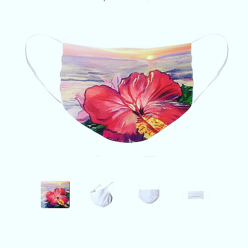Protective Mask livened up with Hibiscus art