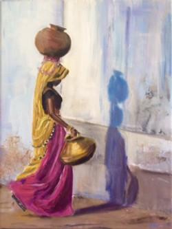 Girl carrying jug