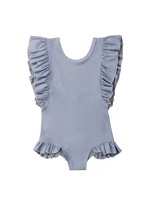 Grey Ruffle Swimwear