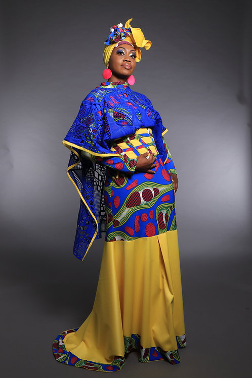 Yellow and Blue printed Tribal Evening Gown