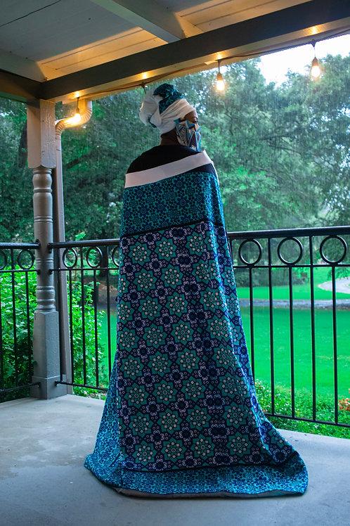 Blue Maasai Cloak & headwrap
