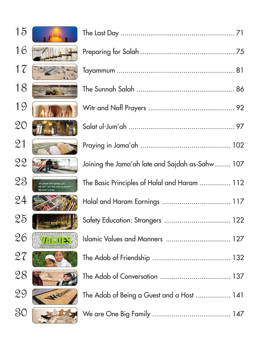 We Are Muslim Grade 3 - Table of Content