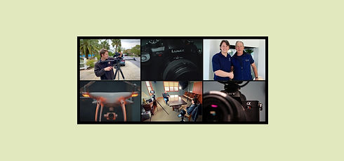 Collage of shooting video footage