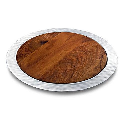 "Sierra Round Tray w/Rosewood Insert 17"" D"