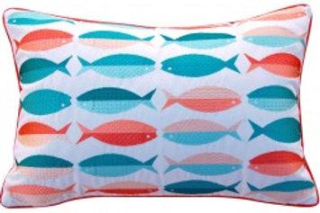 Modern Fish Pattern Pillow - Outdoor Sunbrella