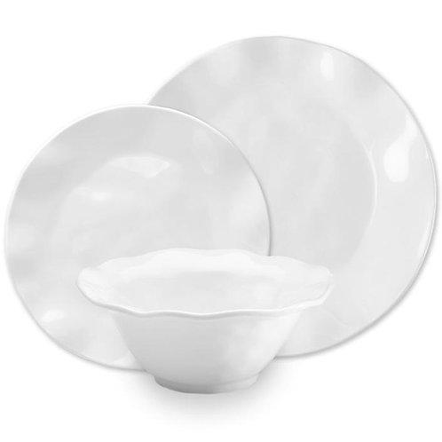 Ruffle White Melamine Round 12pc Dinnerware Set