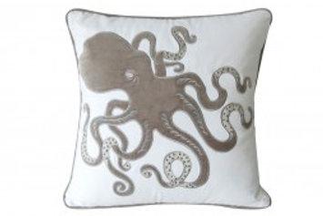 Octopus Pillow - Grey - Indoor Cotton Appliqué