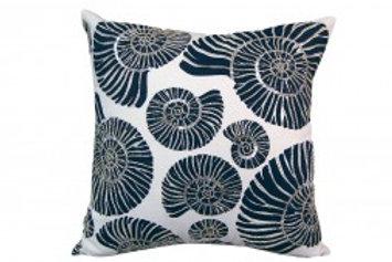 Beaded Nautilus Shell Pillow - Indoor Cotton