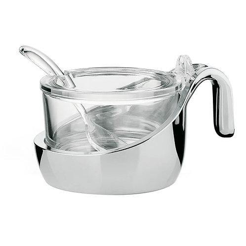wo-tone parmesan server/preserve jar/sugar bowl with teaspoon