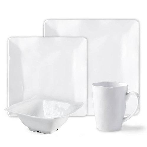 Ruffle White Melamine Square 16pc Dinnerware Set