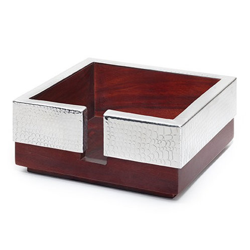 Kenya Rosewood Cocktail Napkin Holder w/Crocodile Pattern