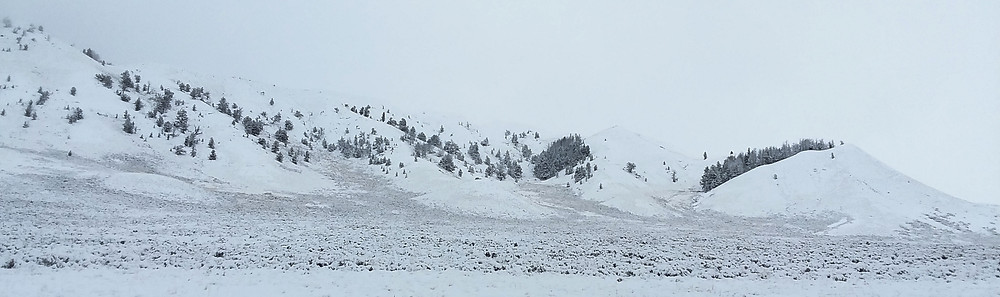 Snowy hills near small remote town of Dubois, Wyoming