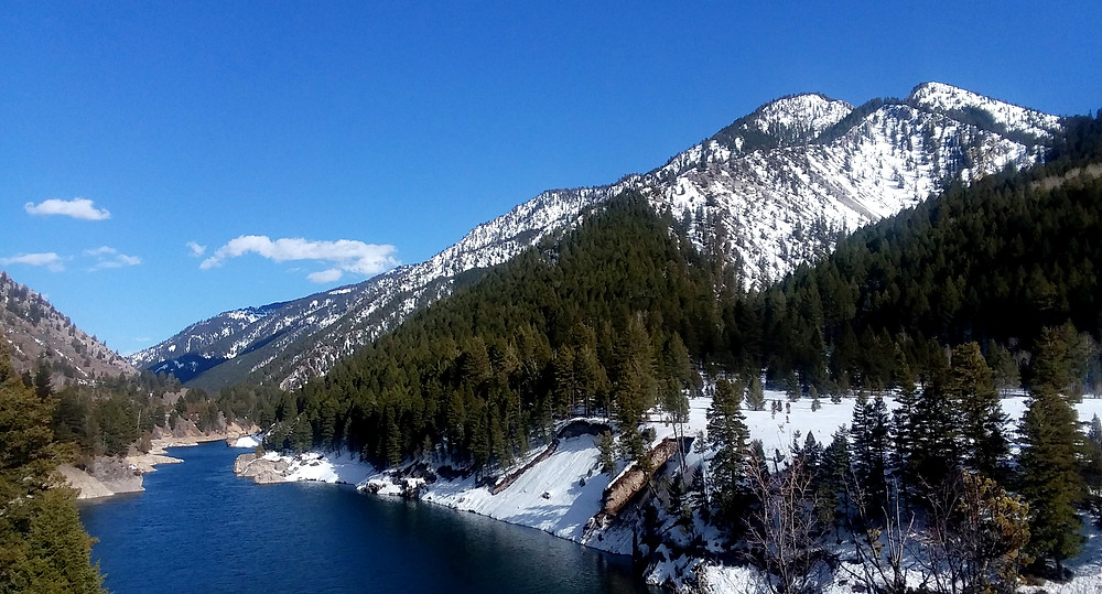 Snowy mountains and Snake River in Wyoming