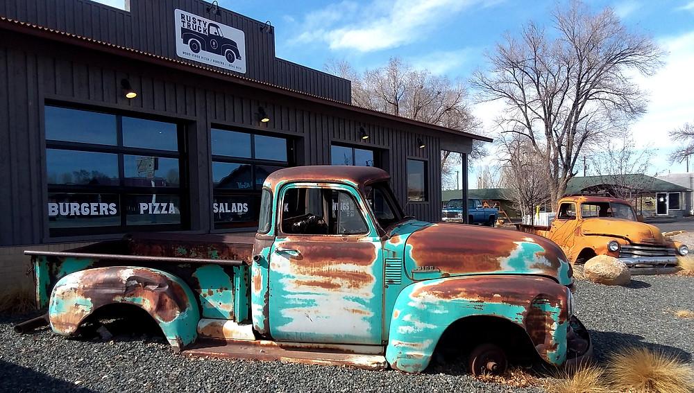 Classic trucks in front of Rusty Truck restaurant in Riverton, Wyoming