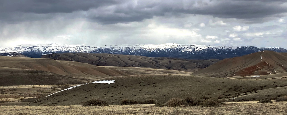 Hills and mountains in small remote town of Dubois, Wyoming