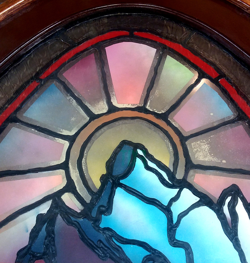 Stained glass of the Tetons in Jackson, Wyoming