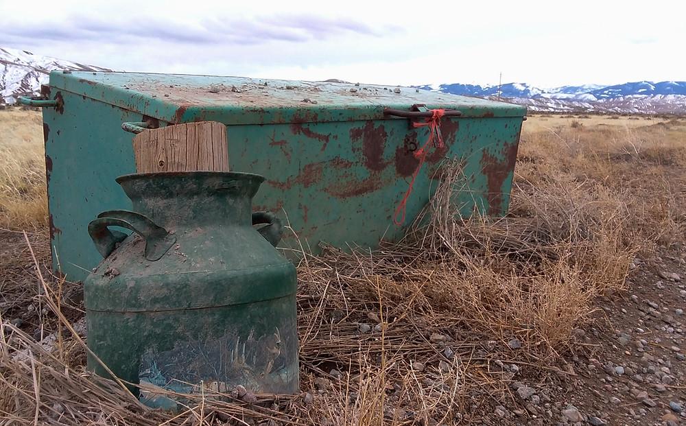 Rusty objects in field near Dubois, Wyoming