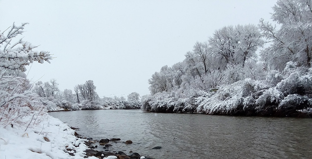 Snowy river in small remote town of Dubois, Wyoming