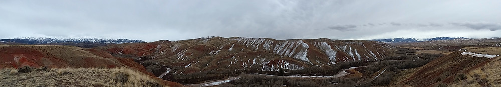 Hills and river near Dubois, Wyoming
