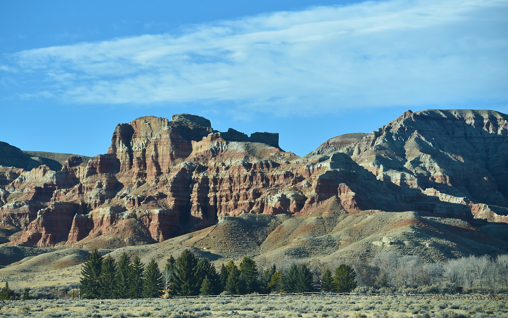 Badlands near small remote mountain town of Dubois, Wyoming.