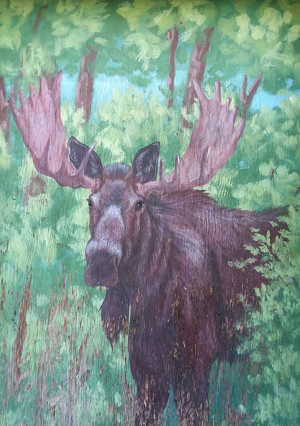 Moose street art in Jackson, Wyoming