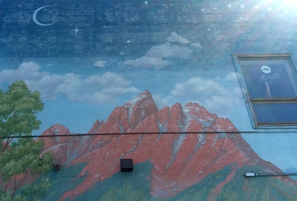 Teton street art mural in Jackson, Wyoming