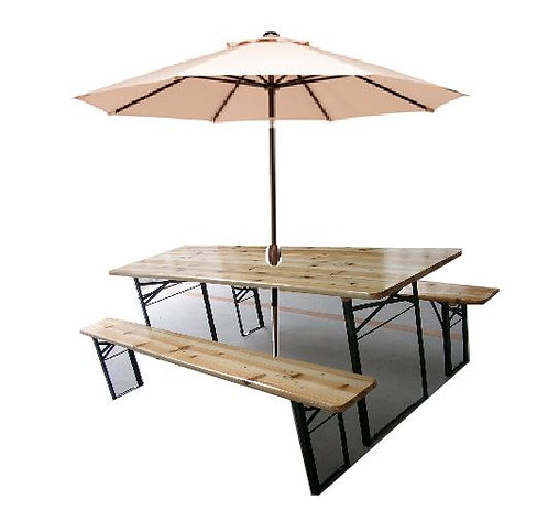 Wooden table and benches with Parasol  長木桌及長木椅連太陽傘