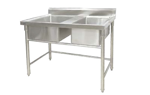 Dual basin ss sink with grease trap