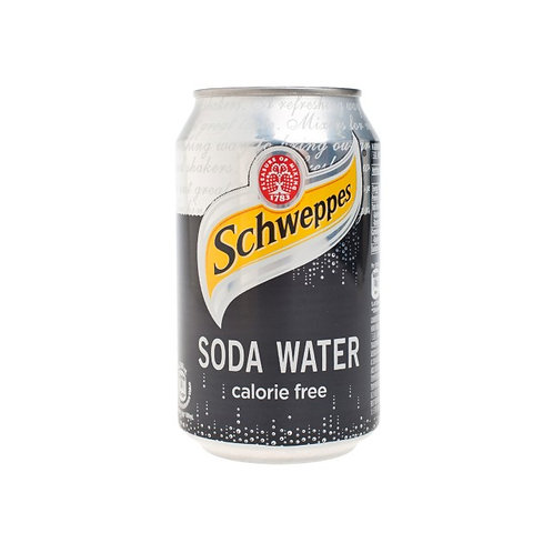Case of 24 x 330ml cans Schweppes Soda Water 玉泉梳打水