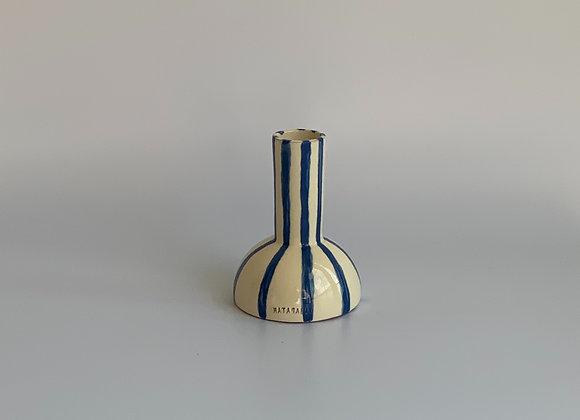 Torneo blue Stripes /  13cm tall / Ivory & Blue