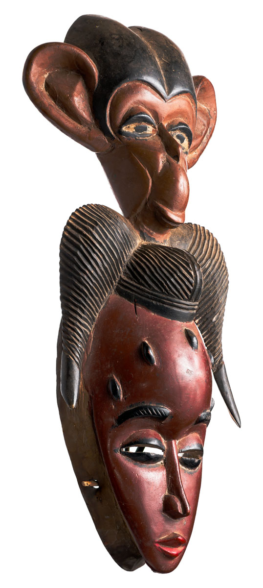 Guru Mask with Primate, Ivory Coast