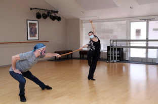 Mark and Kris dancing safely indoors