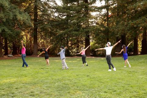Social distancing outdoor group class