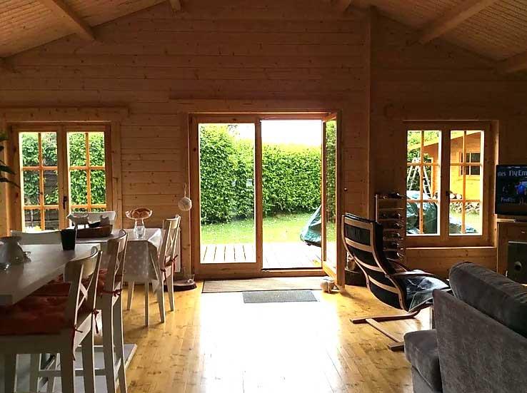 INterior view of Sligo Log cabin Windows and doors