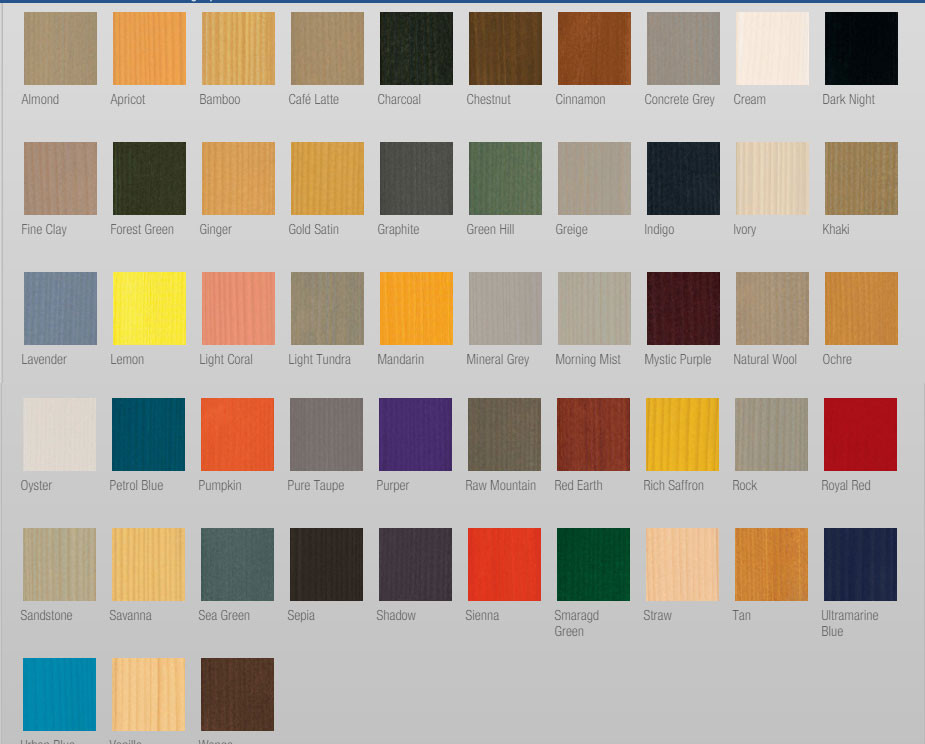 Sikkens colour chart for log cabin wood stains