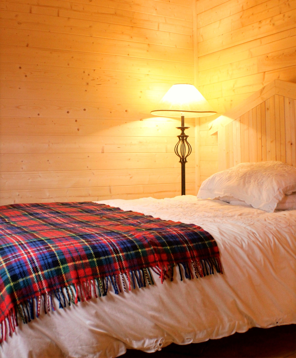 Log Cabin Bedroom with Lamp