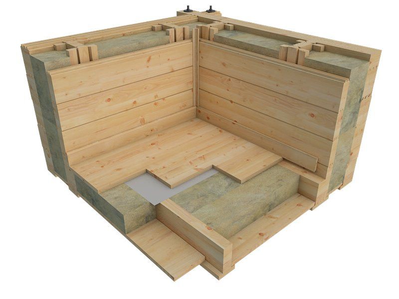 Log cabin wall shoing insulation in wall cavity and floor