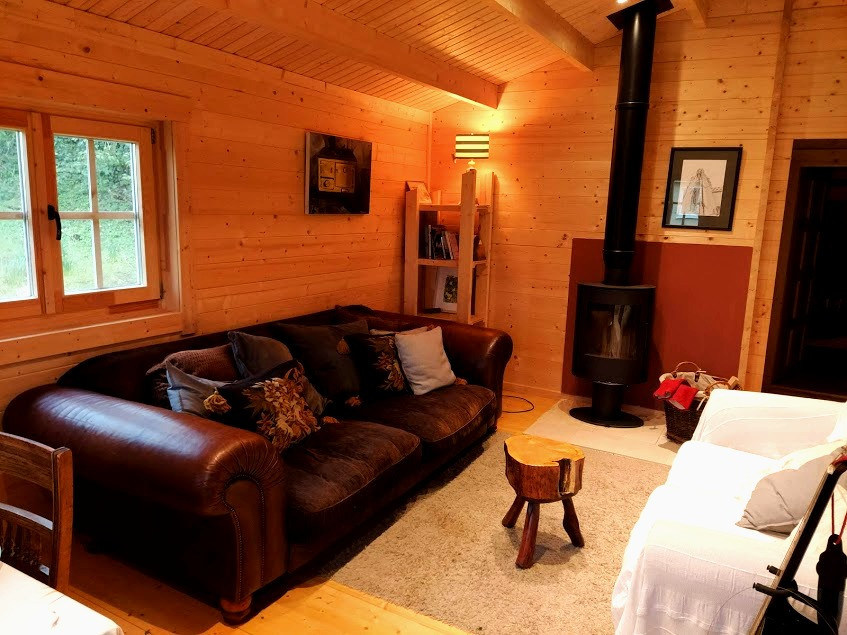 Log cabin with sofa and stove