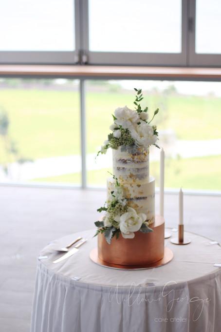 wedding cake rose gold