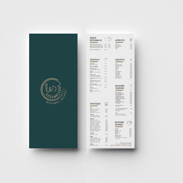 Conception graphique de la carte des boissons du restaurant Les Assembleurs