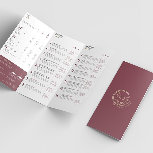 Conception graphique de la carte des vins du restaurant Les Assembleurs