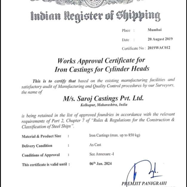 Indian Register Of Shipping Certification