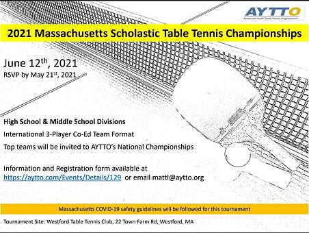 AYTTO MA Scholastic Table Tennis Championship