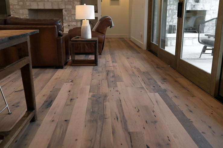 modern living space with live sawn oak flooring