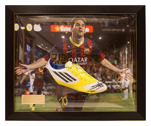 Signed Messi Boot in 3D Frame