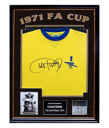 Charlie George - Signed & Framed FA CUP shirt