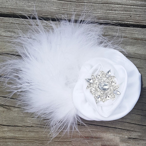Satin flower with white marabou feather satin flower headband toddler headband baby headband white feather flower girl headband baby girls wholesale headbands mightylinksfo