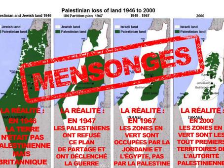 Cartes mensongères qui prétendent prouver que «les Juifs ont volé la terre des Palestiniens»