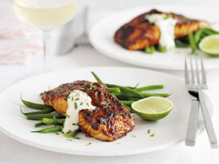 RECIPE - SALMON with chilli glaze and lime creme fraiche